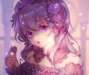 Preview wallpaper girl, glance, anime, art, vintage, purple