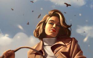 Preview wallpaper girl, glance, coat, birds, art