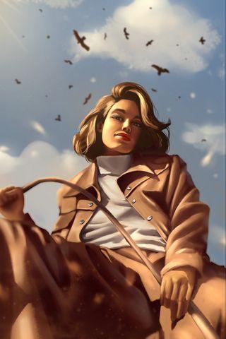 320x480 Wallpaper girl, glance, coat, birds, art