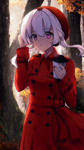 Preview wallpaper girl, glance, cup, autumn, anime