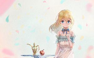 Preview wallpaper girl, glance, dress, anime, art, light