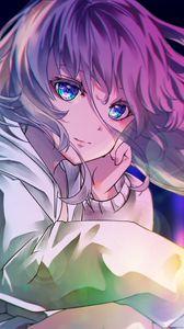Preview wallpaper girl, glance, glare, bokeh, anime, art, cartoon