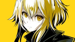Preview wallpaper girl, glance, halo, anime, art, yellow