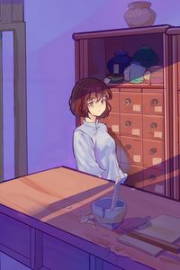Preview wallpaper girl, glance, lockers, anime, art