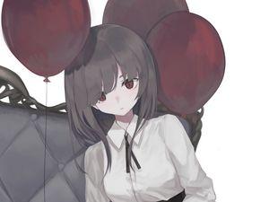 Preview wallpaper girl, glance, pose, chair, balls, anime