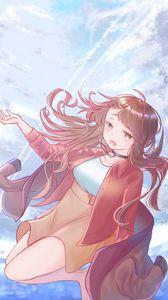 Preview wallpaper girl, glance, sky, flight, anime