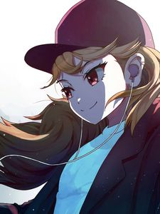 Preview wallpaper girl, glance, smile, headphones, music, anime