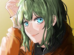 Preview wallpaper girl, glance, smile, cute, anime, art