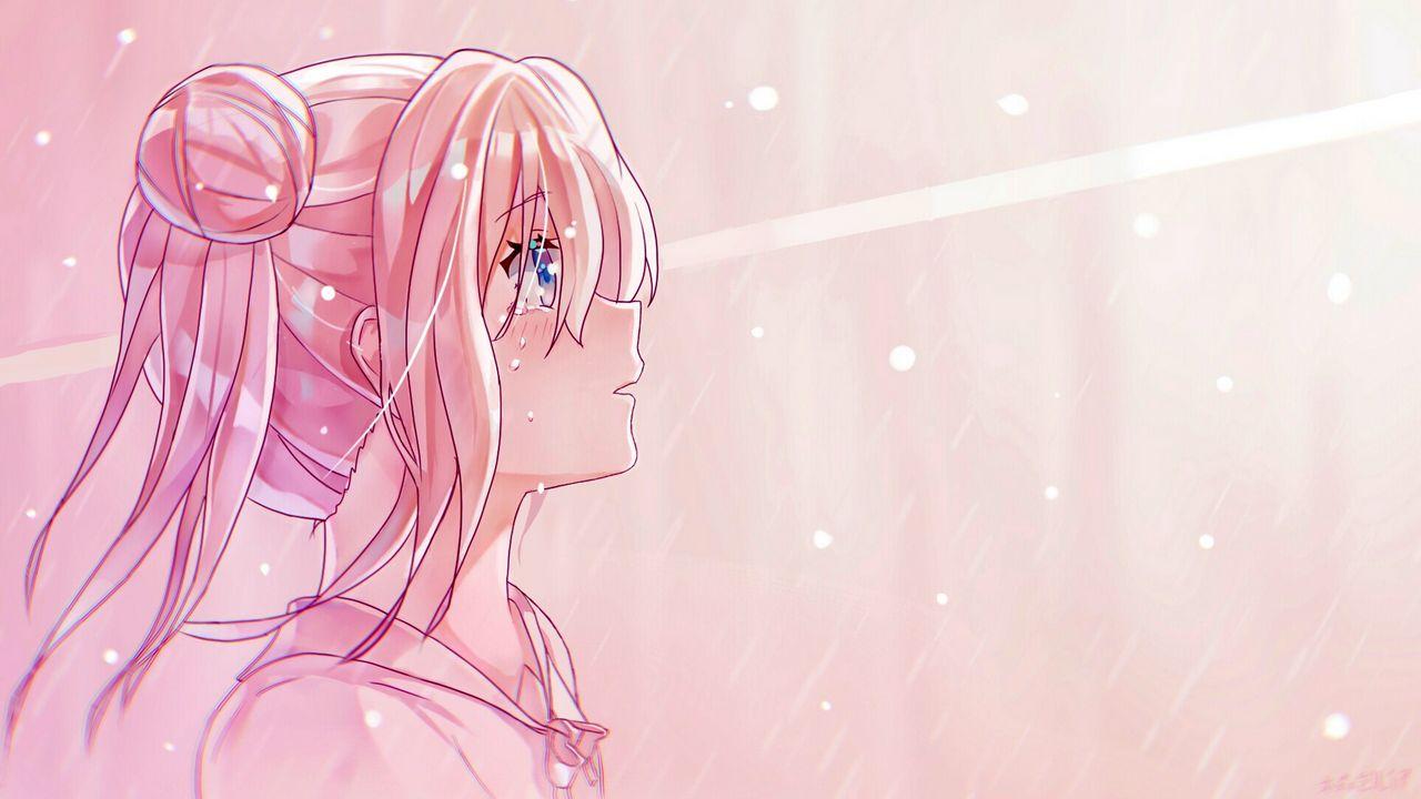 Wallpapergirl,glance,sad,tears,anime,art,pink高清壁纸免费下载