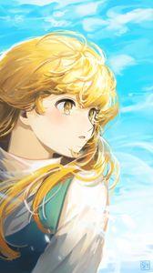 Preview wallpaper girl, glance, wind, anime, art