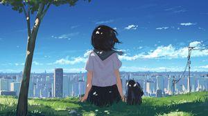 Preview wallpaper girl, grass, city, anime, art, cartoon