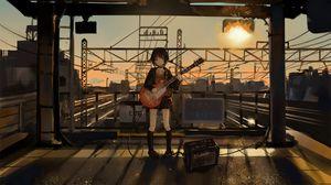 Preview wallpaper girl, guitar, anime, musician, electric guitar, art