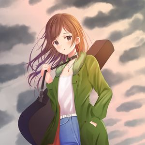 Preview wallpaper girl, guitar, case, clouds, anime