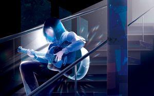 Preview wallpaper girl, guitar, music, anime, art, blue