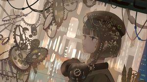 Preview wallpaper girl, gun, military, anime