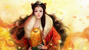 Preview wallpaper girl, hair, asian, costume