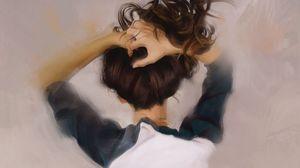 Preview wallpaper girl, hair, hands, art
