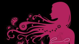 Preview wallpaper girl, hair, wind, patterns, silhouette