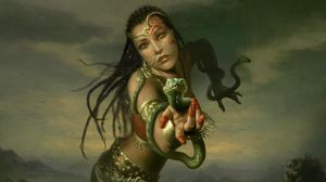 Preview wallpaper girl, hand, snakes, braids, jewelry