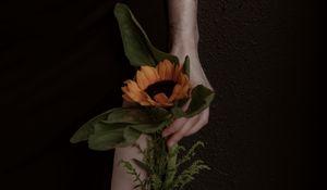 Preview wallpaper girl, hand, sunflower, flower, tattoo