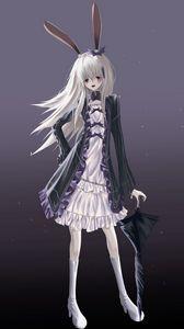Preview wallpaper girl, hare, ears, umbrella, anime, art