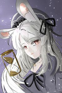 Preview wallpaper girl, hare, ears, anime, art