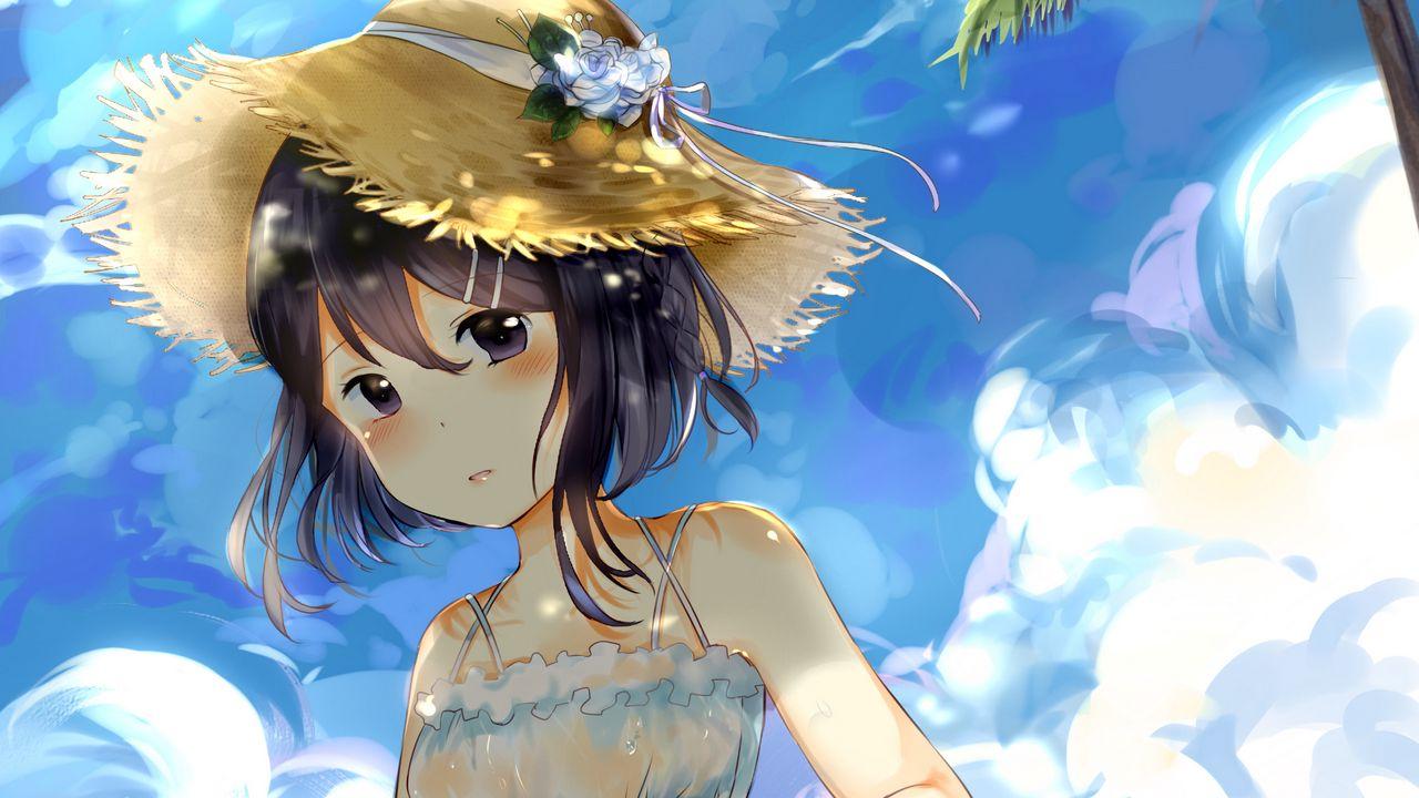 Wallpapergirl,hat,beach,anime,art高清壁纸免费下载