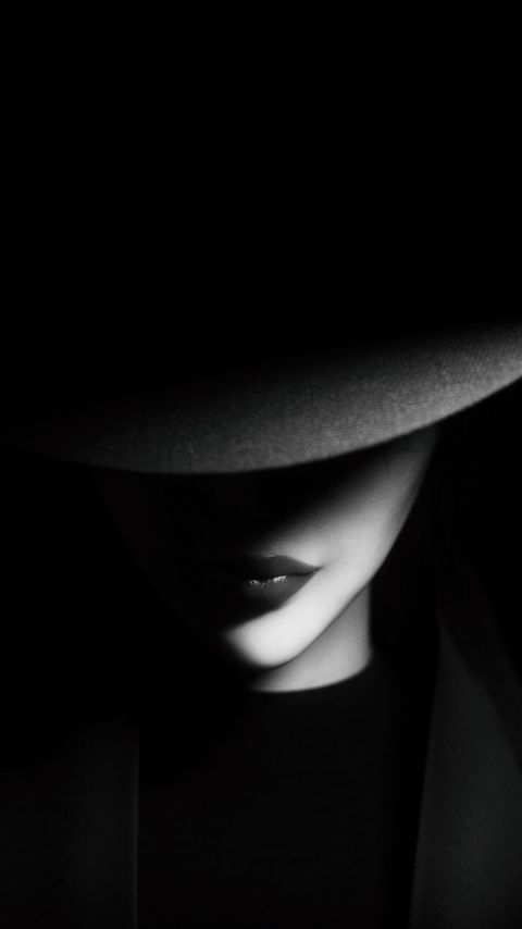 480x854 Wallpaper girl, hat, bw, dark, shadows