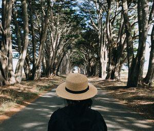 Preview wallpaper girl, hat, road, trees, aesthetics