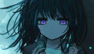 Preview wallpaper girl, headphones, sad, music, anime, art