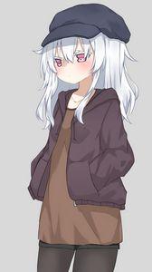 Preview wallpaper girl, jacket, cap, anime