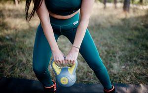 Preview wallpaper girl, kettlebell, fitness, sport