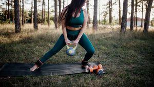 Preview wallpaper girl, kettlebell, fitness, sport, nature