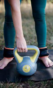 Preview wallpaper girl, kettlebell, sport, fitness