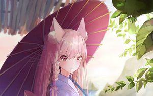 Preview wallpaper girl, kimono, anime, outfit, umbrella, art