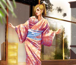 Preview wallpaper girl, kimono, japan, art