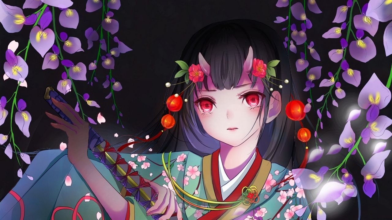 Wallpapergirl,kimono,katana,anime,art高清壁纸免费下载