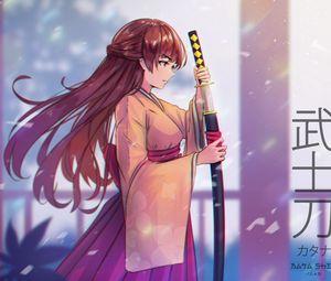 Preview wallpaper girl, kimono, katana, warrior, anime