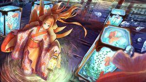 Preview wallpaper girl, kimono, lantern, underwater world, anime, art