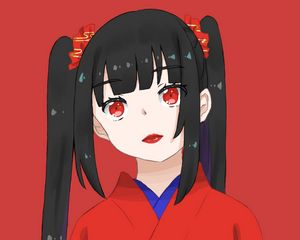 Preview wallpaper girl, kimono, lipstick, anime, red
