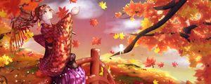 Preview wallpaper girl, kimono, maple leaves, autumn, anime