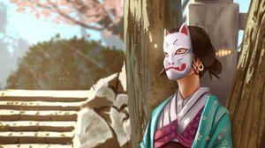 Preview wallpaper girl, kimono, mask, art, japan