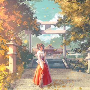 Preview wallpaper girl, kimono, pagoda, temple, anime, art