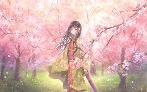 Preview wallpaper girl, kimono, umbrella, sakura, petals, anime, art
