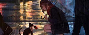 Preview wallpaper girl, kitten, flower, anime, street, rain