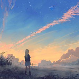 Preview wallpaper girl, landscape, art, morning, sunrise