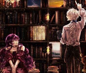 Preview wallpaper girl, library, books, anime, art, vintage