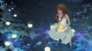 Preview wallpaper girl, lights, water, stars