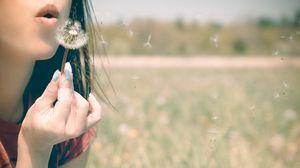 Preview wallpaper girl, lips, dandelion, breath, grass