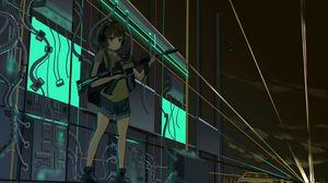 Preview wallpaper girl, machine gun, gun, anime, art
